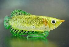 Glass FISH, Painted Golden Yellow & Green Glass Ornament, Gift, Collectors Item