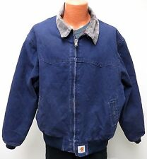 Carhartt NAVY DUCK JACKET XL Red Quilt Fleece Lining Coat Corduroy Collar vtg