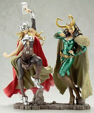 KotoBukiya Marvel Female Thor & Lady Loki Bishoujo Statue Figure 2 Piece Set NEW