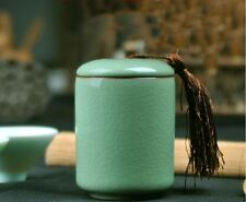1pc China Longquan Celadon Puer Tea Caddy Ceramic Seal Cans