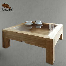 Display Coffee Table Glass Wood Solid Oak Modern Square UK Handmade Amazoak 60cm