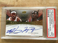 2008 UD Exquisite Lebron James/Michael Jordan auto PSA 9  numbered 23/23