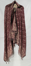 Yak/Sheep Wool Shawl/Throw/Wrap - Handloomed - Reversal - Bur/Beige-Paisley-Full
