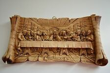 G Murano Jesus Last Supper Carved Jerusalem Olive Wood Wall Plaque Sculpture Art