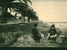 Carte photo ancienne pause sur la plage Nice