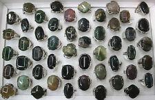 Newest Wholesale lots 25pcs Big Nature Gemstone Rings 16-20MM