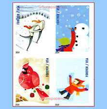 4937c-40c Winter Fun 2014 Skaters Cardinal Imperf Block of 4 Designs No Die Cuts