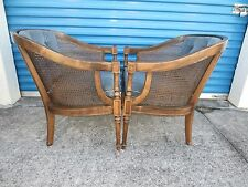 PAIR Barrel Chairs French Provincial Country 2 Tube Hollywood Regency Cane