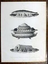 Gravure URBAIN DUBOIS Cuisine Artistique 1874 Truite Chambord SOLE Esturgeon...
