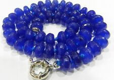 New 6x10mm Faceted Blue Sapphire Abacus Necklace 18""