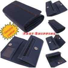 Ladies Leather Bifold Wallet Navy Blue Cash Credit Card ID holder
