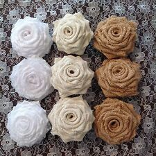 Hessian and Lace Roses Combination Weddings Shabby Chic x 13
