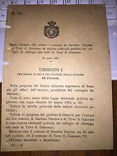 REGIO DECRETO UNISCE BARDINO VECCHIO e TOVO S. GIACOMO IN SEZ EL di ALBENGA