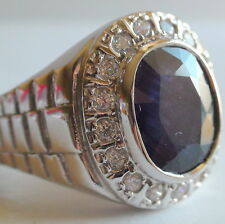 Natural Sapphire Ring 8.50 CT 925 Silver,Vintage Estate Jewelry,Size 7.5,