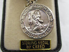 "† OLD STOCK NIB STERLING ""ST CHRISTOPHER"" U S NAVY MEDAL CHARM PENDANT 1 1/8"" †"