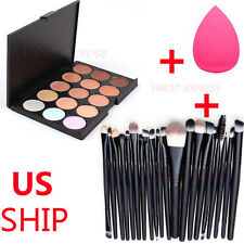 15 Colors Contour Face Cream Makeup Concealer Palette + 20PC Powder Brush Sponge