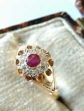 Pretty Victorian Hallmarked 18ct Gold Ruby & Diamond Ring. Size O. Good Conditio