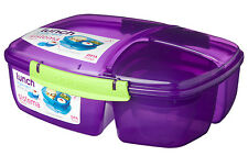 Sistema Purple Triple Split 2L Multi Compartment Lunch Box Yoghurt Pot School