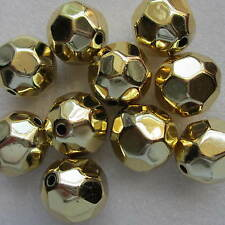 10 Metallic Large Faceted Round Beads 26mm x 24mm Foot Ball Beads Craft Jewelery