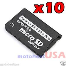 Lot x 10 Memory Stick Pro Duo Adapter Micro SD SDHC TF Card Reader for Sony PSP