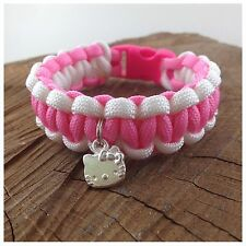 "Hello Kitty enfant bracelet breloque paracord bracelet d'amitié 7 ""handmde UK"