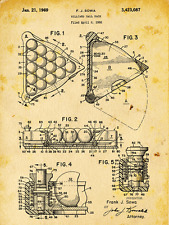 Billiard Rack Patent Drawing Metal Sign, Pool, Vintage, Sport, Den Décor, Office