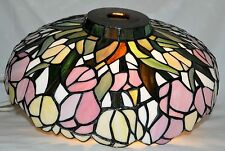 "Vintage 14"" Tiffany Style Leaded Stained Glass Lamp Pendant Light Lamp Shade"