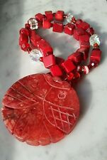 Grade A Red Jadeit Jade Nephrite Twin Fish Disc Necklace with Square Coral Beads