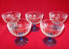 "5 Cordial Glass liqueur Glasses Clear & Blue Ribbed made in Italy 3.5""x3.5"""