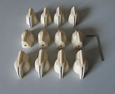 "12x Aged White Raised Chicken Head Knobs 1/4"" Guitar AMP Knob Effect Pedal Knobs"