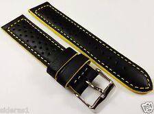 18-20-22mm color stitch PERFORATED RACING GENUINE LEATHER BAND - MADE IN FRANCE