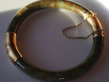 Antique Art Deco Chinese 14k Solid Gold Etched Carved Jade Bangle Bracelet Great
