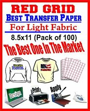"HEAT TRANSFER PAPER RED GRID IRON ON LIGHT T SHIRT INKJET PAPER 100 PK 8.5""X11"