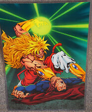 Dragon Ball Z Broly vs Superman Glossy Print 11 x 17 In Hard Plastic Sleeve