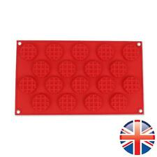 *UK Seller* Silicone 18 Round Waffle Shape Muffin Pans Baking Cake Mould Mold