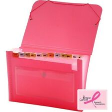 Lion Office Clear-Line Pink Ribbon 13-Pocket Poly Expanding File - 94400PK
