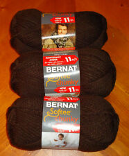 Bernat Softee Chunky Yarn Lot Of 3 Skeins (Dark Taupe #28013)