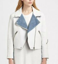 Acne studios Rita White Leather Denim MAPE Motorcycle Jacket Coat Size 4 XS S
