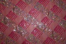 Pink Mesh Sequin All Over #33 Stretch Polyester Spandex Lycra Fabric BTHY