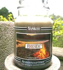 "Yankee Candle Retired Black Band ""FIRESIDE"" Large 22 oz.~WHITE LABEL~NEW"