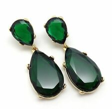 "KENNETH JAY LANE ""Jolie"" Emerald Colored Crystal 22K Gold Plated Earring NEW"