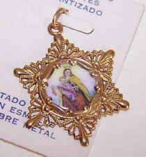 Vintage SPANISH 10K Gold/Enamel Religious Charm - Our Lady of Mount Carmel!
