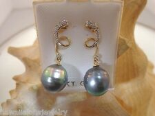 11.1mm Cultured Tahitian Pearls 0.06Cts Diamond 14k Yellow Gold Post Earrings #1