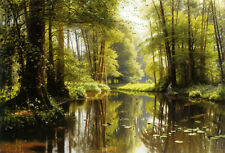 Oil painting Monsted Peder drains in the forest river cross summer forest canvas