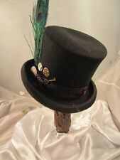 STEAMPUNK MENS BELL TOP BLACK HAT  BLACK Gothic   Gears Clock Parts feather