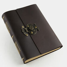 Ancicraft Leather Journal Diary with Vintage Flower Vase Lock A5 Blank Paper