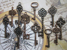 12 pcs Mix Steampunk Antique copper vintage Keys Charm Pendant wedding fancy