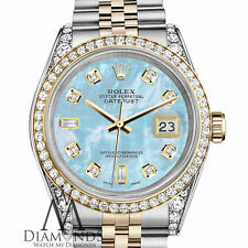 Ladies Rolex Steel - Gold 26 mm Datejust Baby Blue MOP 8+2 Diamond Dial Watch