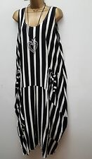 New Italian Lagenlook Black White Stripe Quirky long maxi Dress uk 16 18 20 22