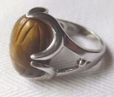 925 Silver Scarab Ring - Interchangeable Tiger's Eye Stone Only - Size 6.5